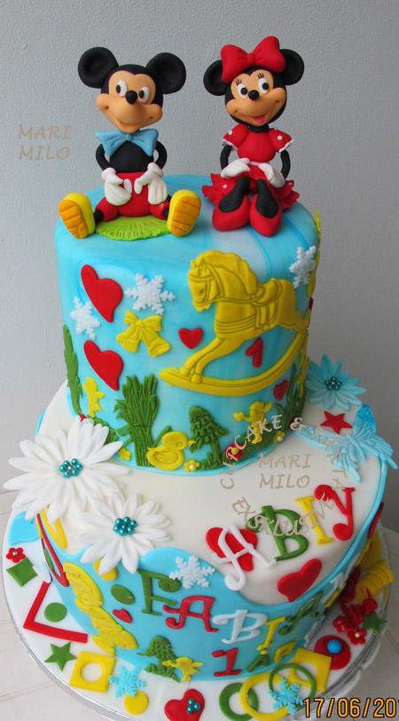 Mickey och Minnie Mouse tårta