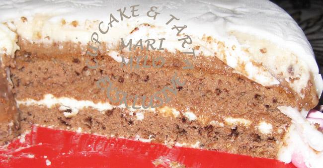 Mörk choklad botten, vit choklad och mascarpone fyllning