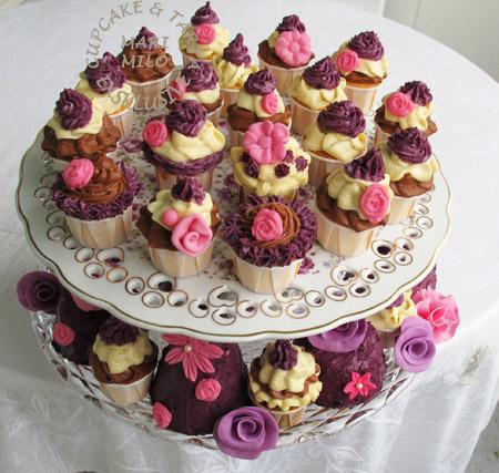 Cupcakes trippel, choklad-vanilj-blåbär