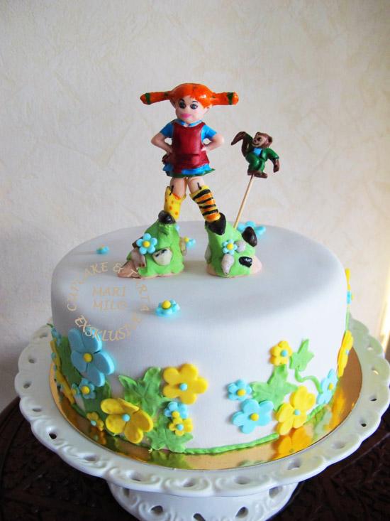 Barntårta med motiv, tematårtor Pippi Långstrump