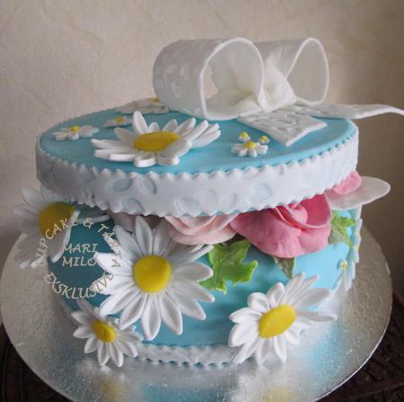 Blåvitt tårta