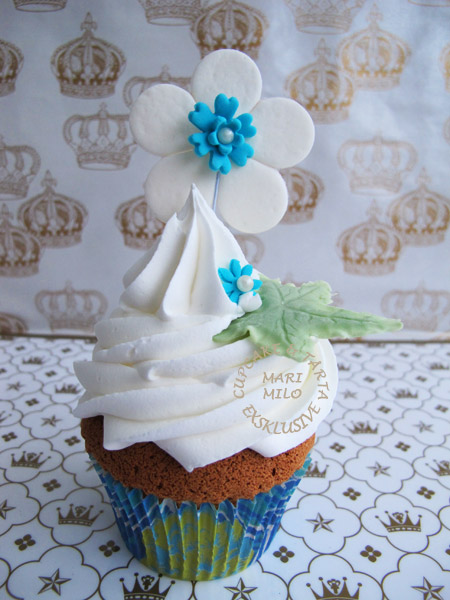 Cupcake  blå-vitt