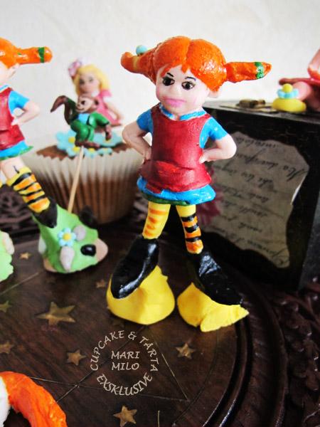 sockerfigurer för Pippi Lånstrump tårta