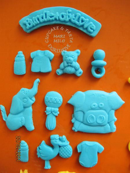 Baby cupcakes, sockerdekoration
