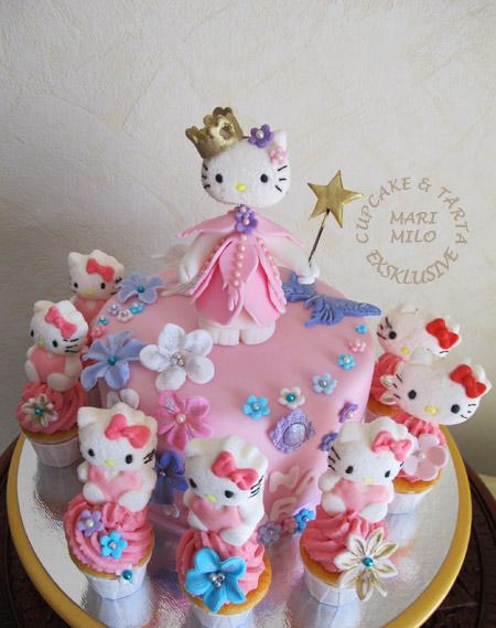 Hello Kitty som prinsessa, tårta och cupcakes till Lana