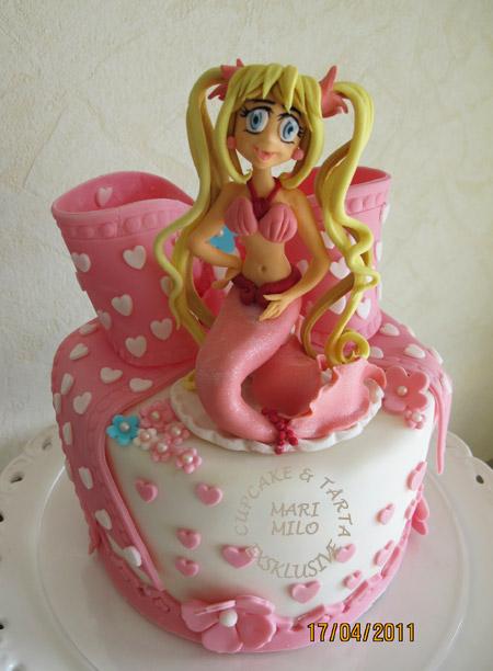 Sjöjungfu sockerfigur, tårta