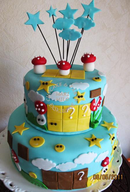 Svampar och stjärmor Super Mario tårta