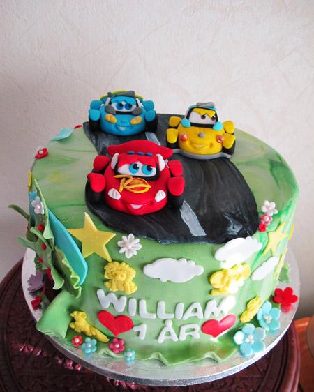 Bilar tårta födelsedagstårta
