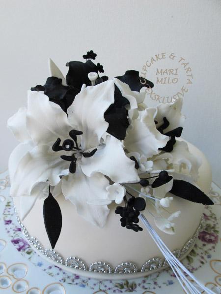 Bröllopstårta svart-vit