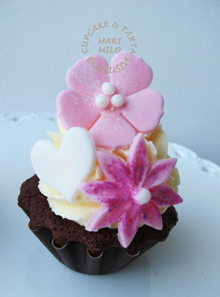 Cupcakes rosa vitt