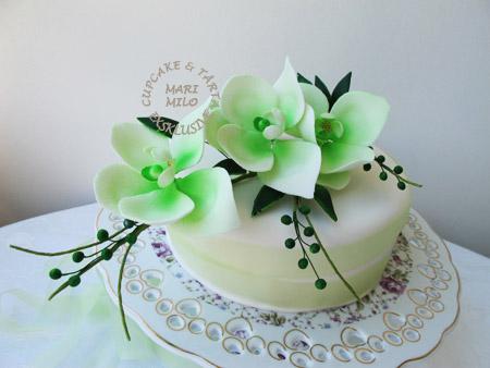 Dekorerade tårtor, orkideèr
