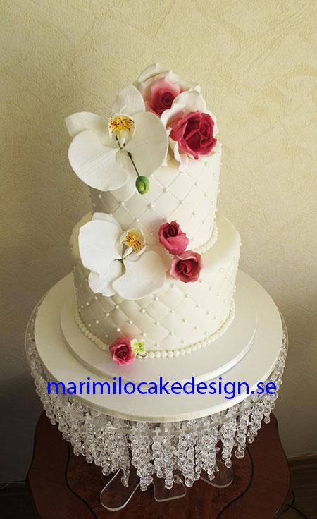 Bröllopstårta, vita rosor, Stockholm