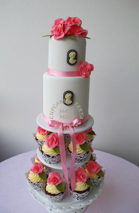 Bröllopscupcakes och Bröllopstårta