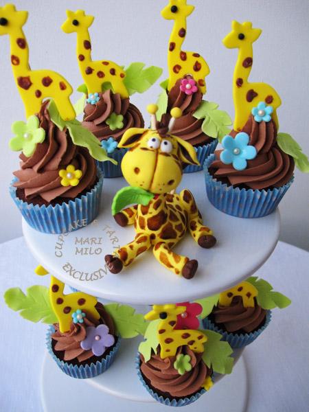 Kalas Cupcakes med djur, giraff cupcakes