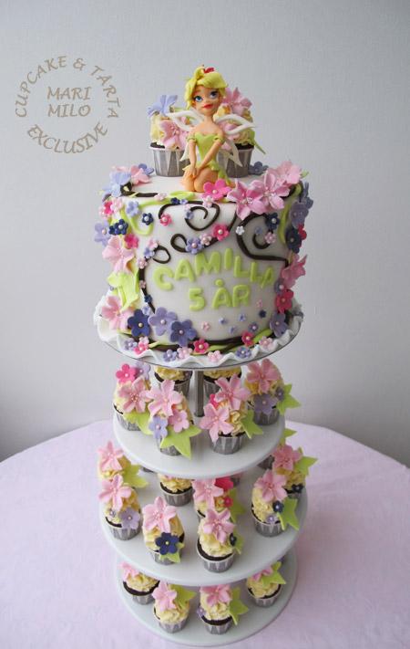 Tingelig tårta och mini cupcakes
