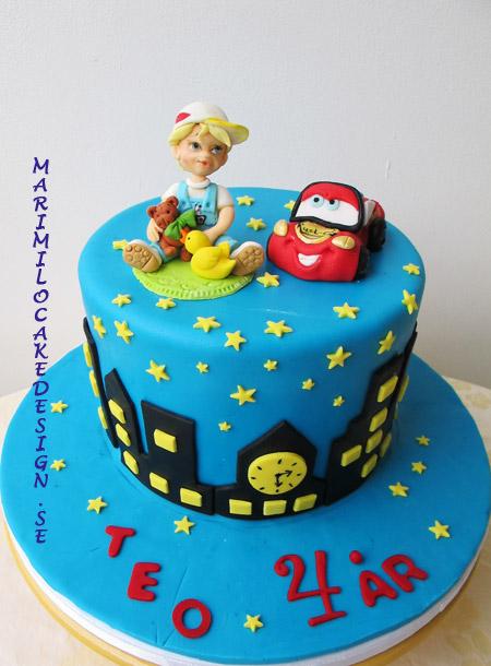 Beställa tårta, barntårta, bilar, pojke