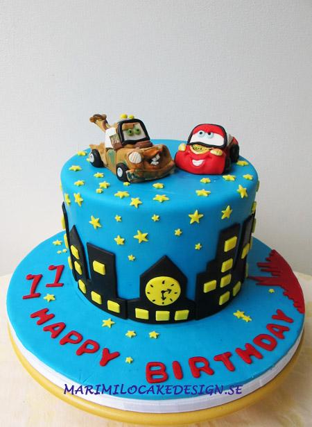 Födelsedagstårta barn, bilar