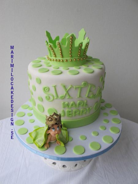 Doptårta lime grön med socker bebis och socker krona