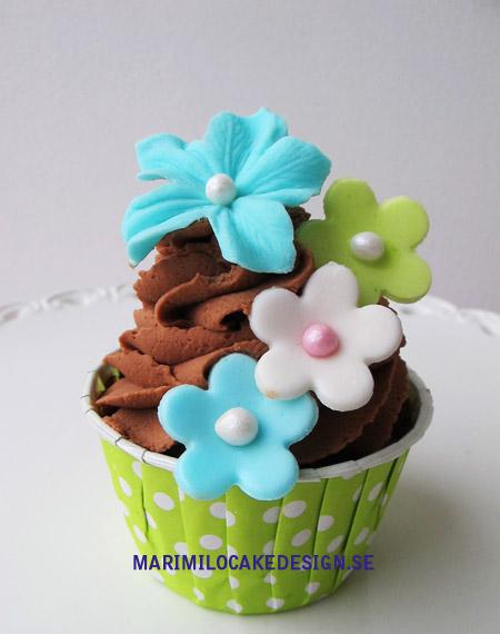 Cupcake, lime grön, blå