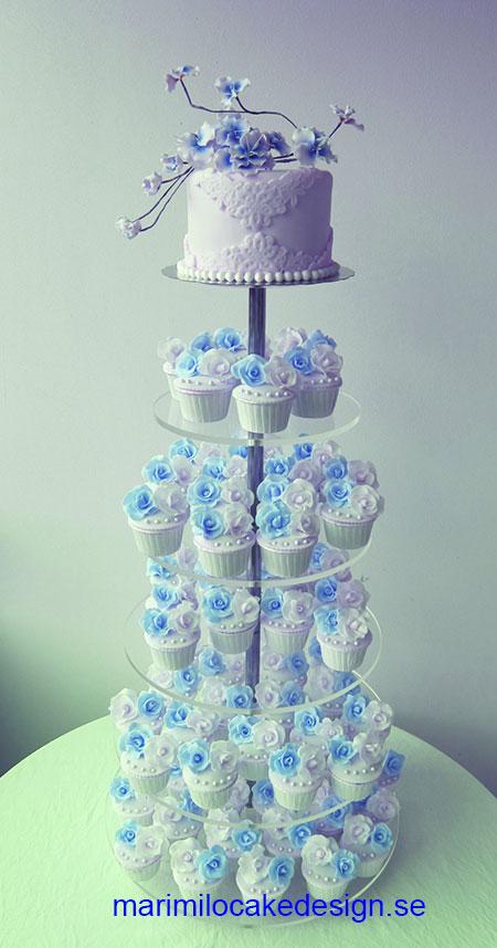 Bröllop cupcakes och tårta