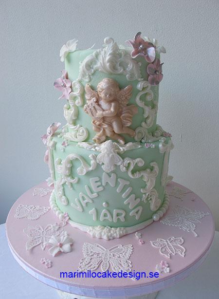Mintgrönt tårta med ängel