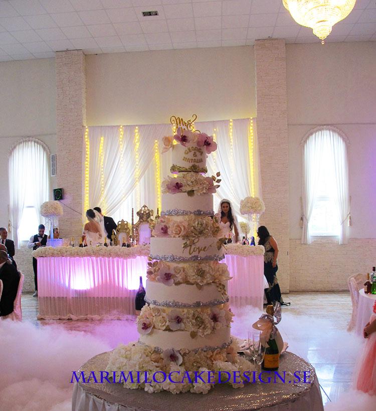 Stor bröllopstårta guld
