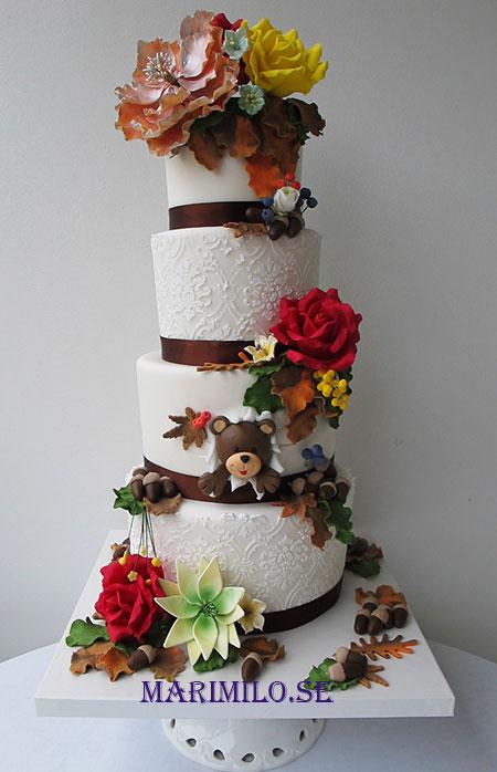 Bröllopstårta hosttema