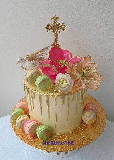 Bröllopstårta Drip Cake med guld