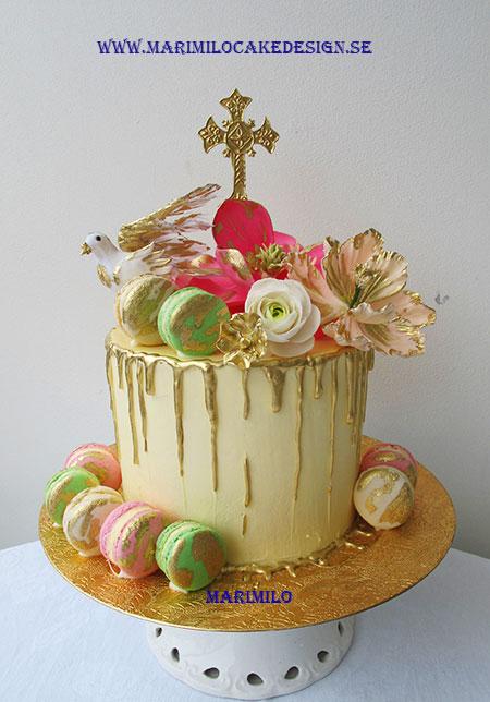 Bröllopstårta med rinnande choklad Drip tårta
