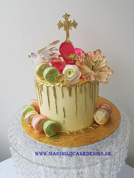 Drip cake, guld, tårta med rinnande choklad