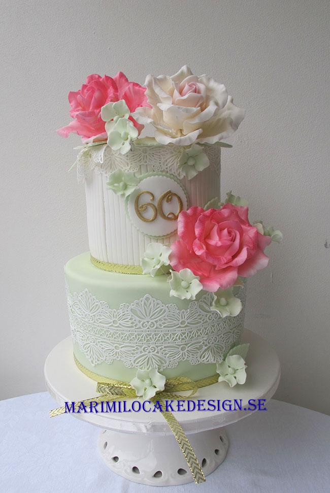 Mintgrön tårta födelsedagar eller bröllop