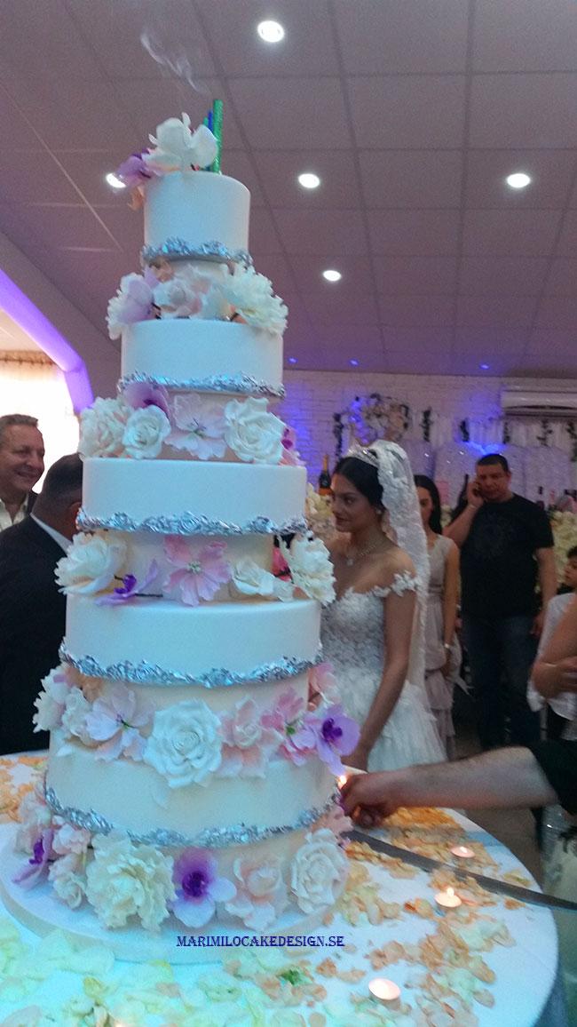 Vacker Stor Bröllopstårta