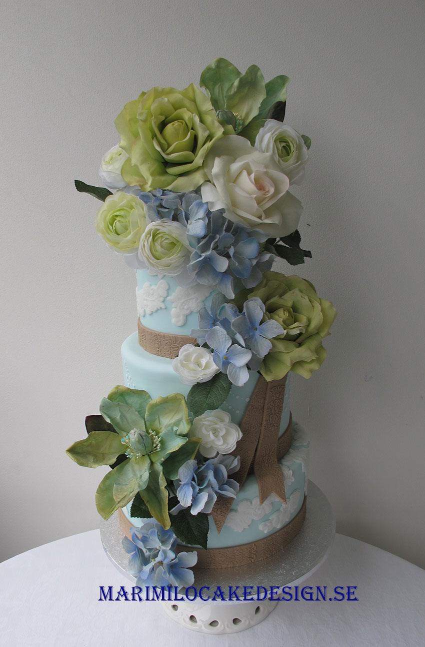 bröllopstårta blå och grön