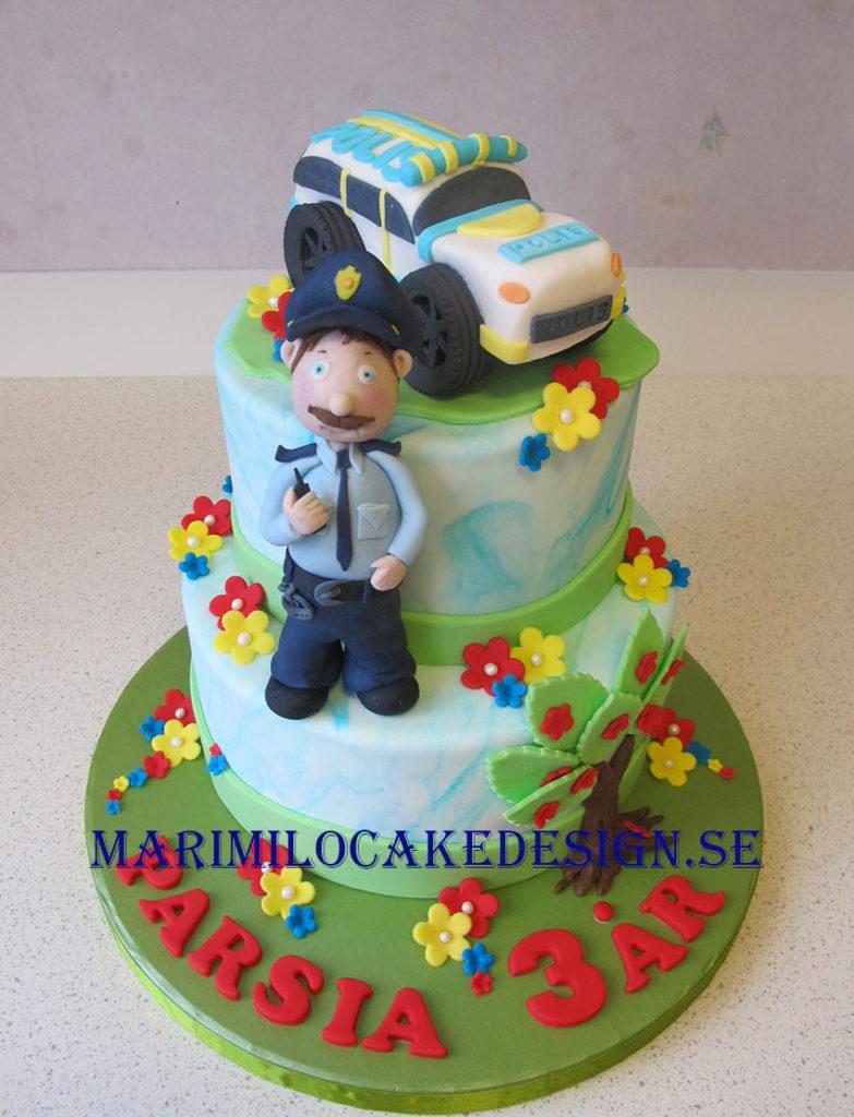polis och polisbil tårta