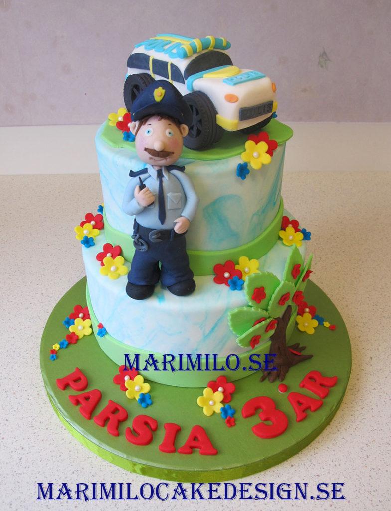 polis och polisbil barntårta