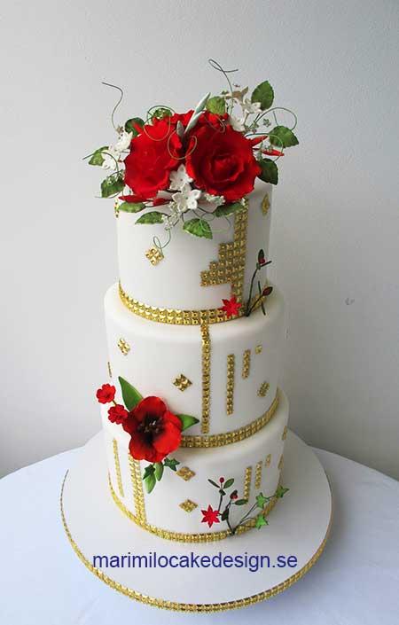 Bröllopstårta guld