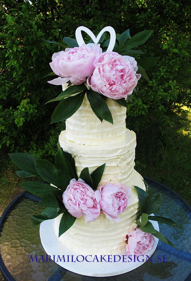 Bröllopstårta pioner